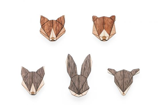 BeWooden - Animal Brooches Set