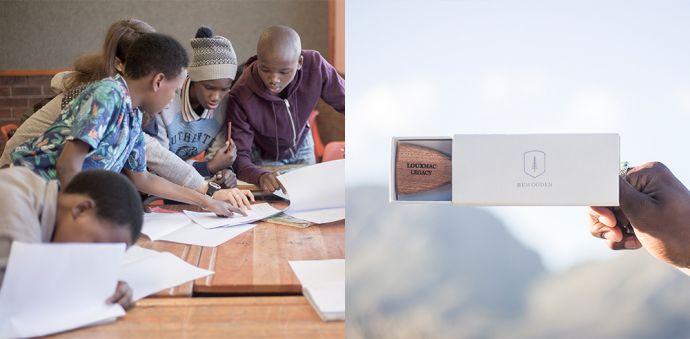 Koláž fotografií z charitatívnej kampane Made by Africa s drevenými doplnkami z mahagónového dreva