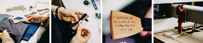 koláž fotiek z výroby drevených doplnkov bewooden výber látky ručné šitie a gravírovanie na drevenom motýliku