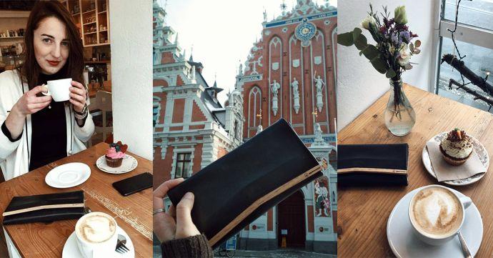 Koláž fotiek s drevenou peňaženkou Liti Woman Wallet