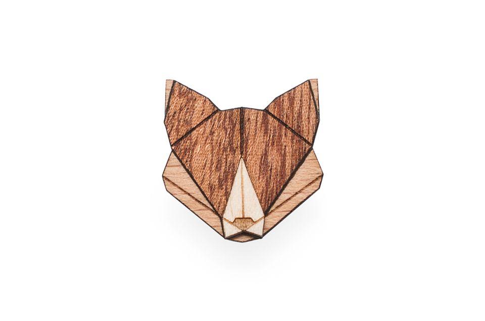 Zvířecí dřevěná brož
