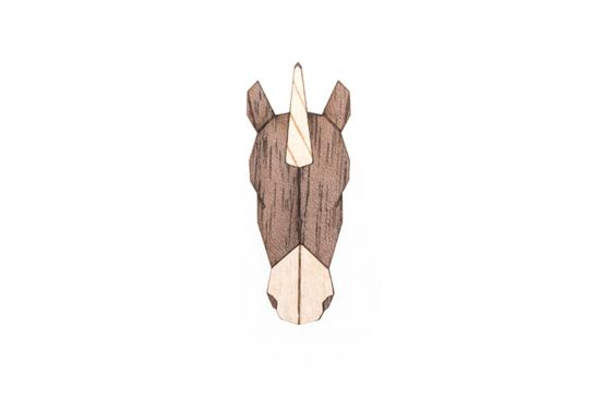 BeWooden - Unicorn Brooch