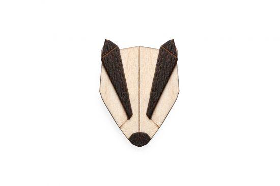 BeWooden - Badger Brooch