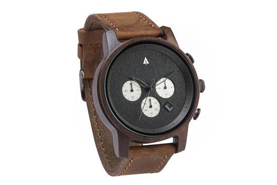 BeWooden - 0-Holz-Armbanduhr-Herren-North-Ebony-Silver-Brown