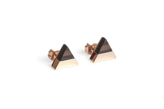 BeWooden - 0 Rose earrings triangle