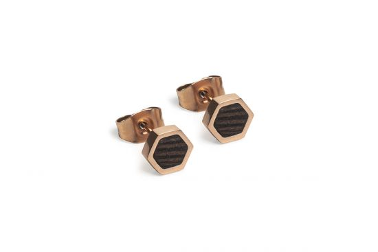 BeWooden - Rose Earrings Hexagon